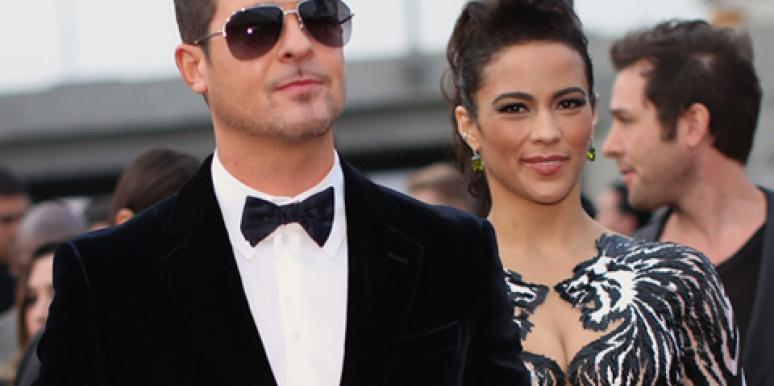 Robin Thicke & Paula Patton at the 2014 Grammy Awards
