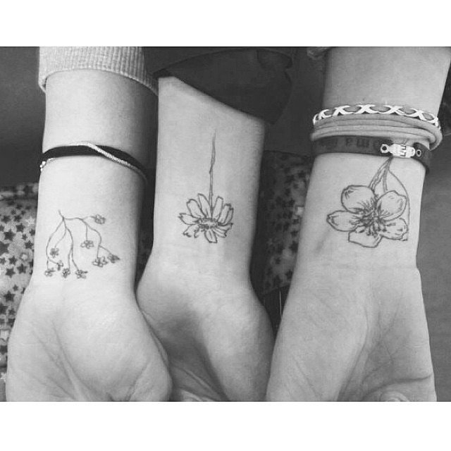 Stages of flowers best friends matching tattoo