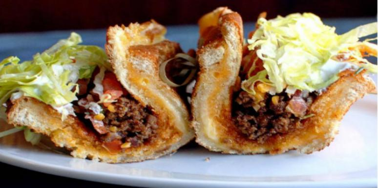 Taco that uses a grilled cheese instead of a tortilla.