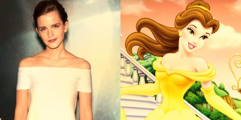 "Emma Watson at the premiere of ""Gravity"" and Disney princess Belle of Beauty and the Beast"