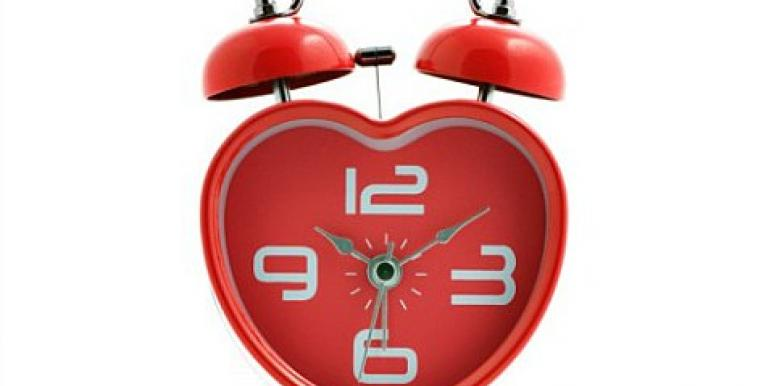 heart-shaped red alarm clock