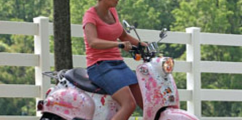 Kate Gosselin on moped