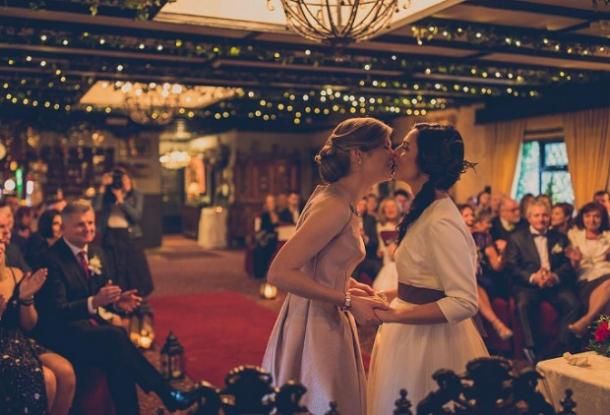 7. You may now kiss the bride(s).