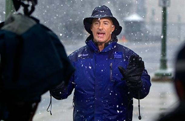 Jim Cantore in the snow