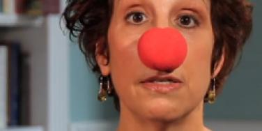 woman in clown nose