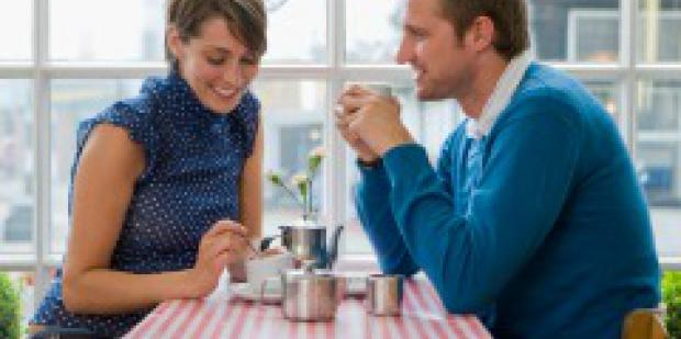couple at table at restaurant