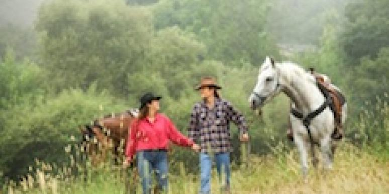 A man and a woman lead horses in a field.