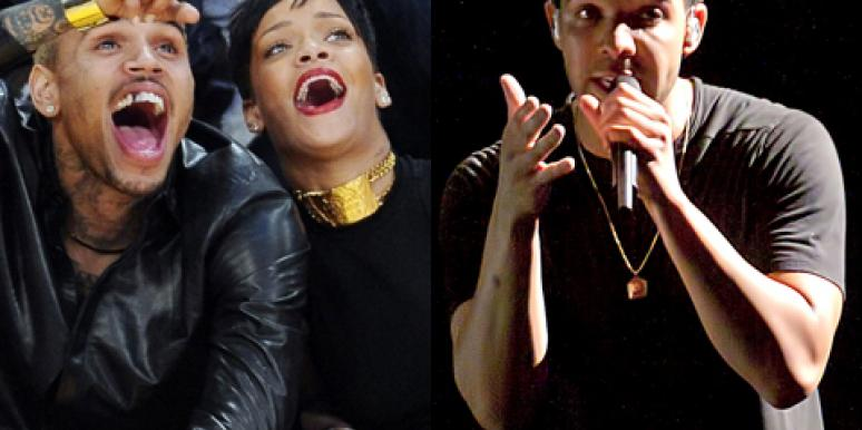 Chris Brown and Rihanna at a basketball game; Drake performing onstage