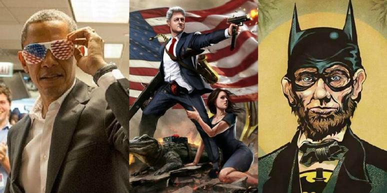 Barack Obama in American flag glasses, Bill Clinton cartoon holding a gun with a young brunette woman, Abraham Lincoln dressed as Batman