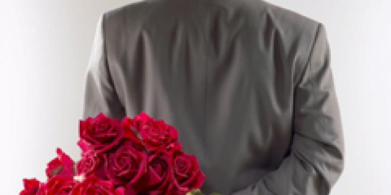 man holding roses
