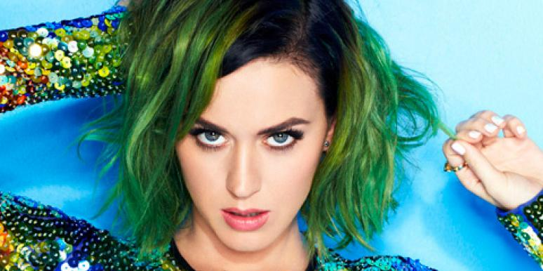 Katy Perry with green hair wearing sequins on the cover of Cosmopolitan (Cosmo) July 2014 issue
