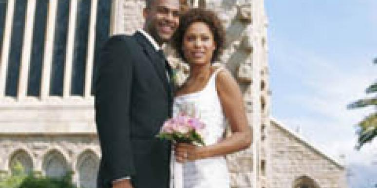black couple bride groom wedding day