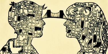 drawing of couple reading each other's minds