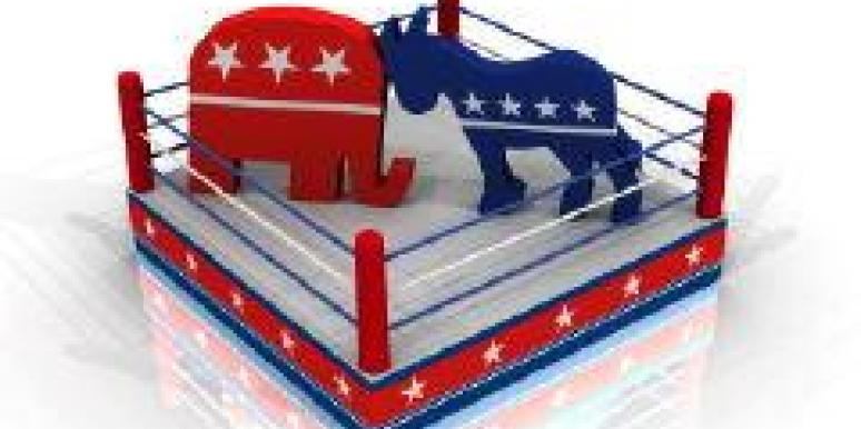 republican and democrat mascots in a boxing ring