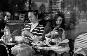 couple not paying attention on date.