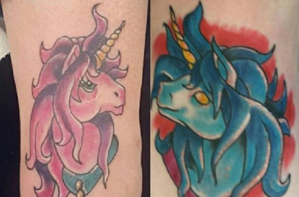 3. Super Weird Matching Unicorn Tattoos