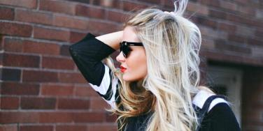 Blonde Girl with Sunglasses on