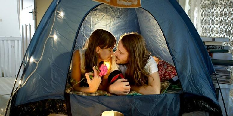 couple in tent.