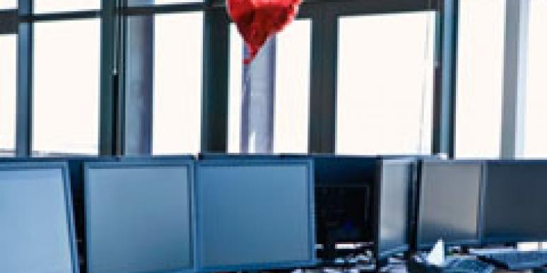 heart balloon in an empty office