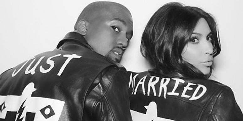 "Kanye West and Kim Kardashian in matching ""Just Married"" leather jackets at their wedding reception"
