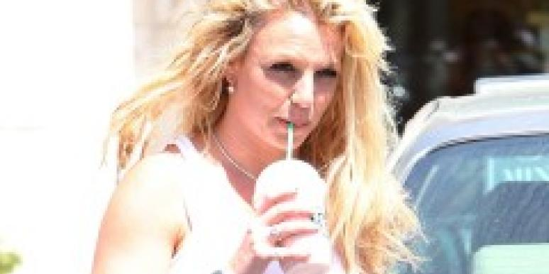 Britney Spears sipping a cold beverage
