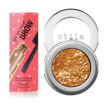 Stila Magnificent Metals Foil Finish Eye Shadow and Benefit's Gimme Brow Brow-Volumizing Fiber Gel