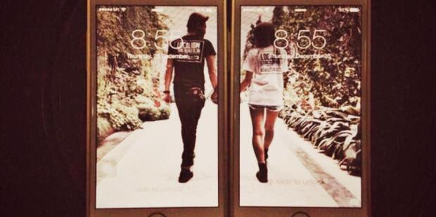 couple in iPhone picture display