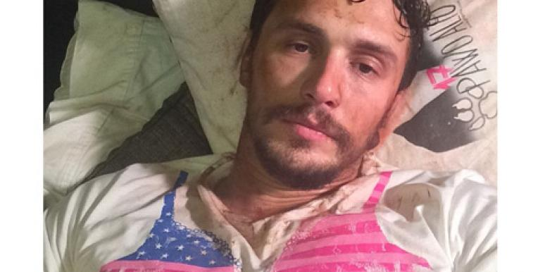 James Franco wearing a bra T-shirt for breast cancer awareness on Instagram
