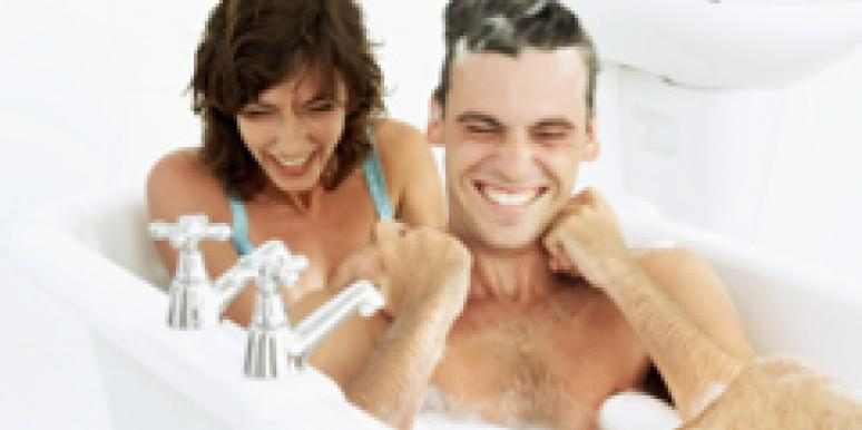 couple taking a bath together