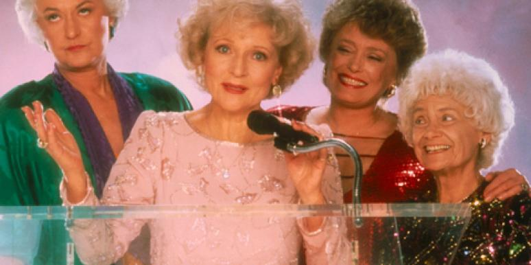 """The Golden Girls"" cast, left to right, Bea Arthur (as Dorothy Zbornak), Betty White (as Rose Nylund), Rue McClanahan (as Blanche Devereaux) and Estelle Getty (as Sophia Petrillo)"