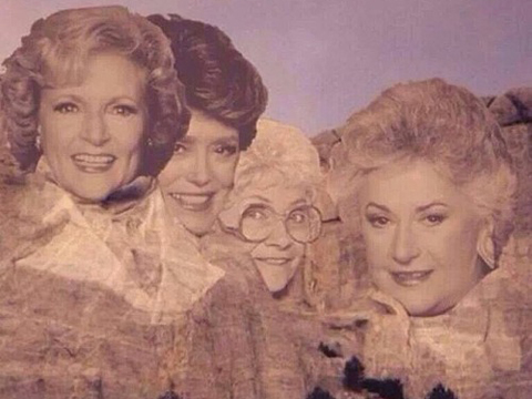 Betty White, Rue McClanahan, Estelle Getty and Bea Arthur as Rose Nylund, Blanche Devereaux, Sophia Petrillo and Dorothy Zbornak on Mt. Rushmore