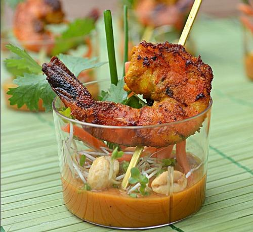 Shrimp Satay Skewer Shooters With Thai Peanut Sauce