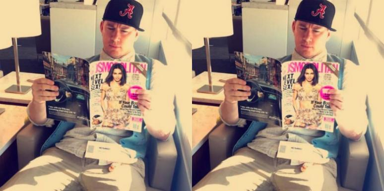 Channing Tatum reading Cosmopolitan
