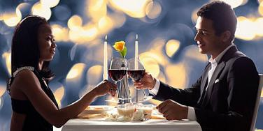 couple having wine at dinner