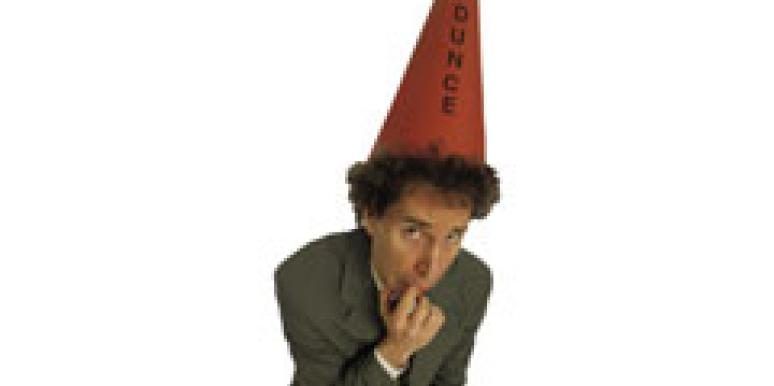 man in dunce cap