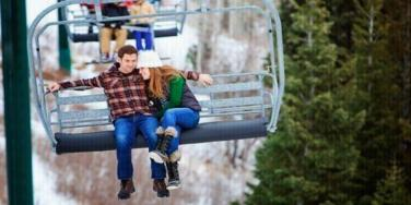 couple on ski lift