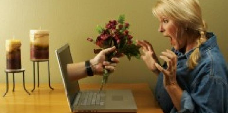 online date comes alive flowers woman scared