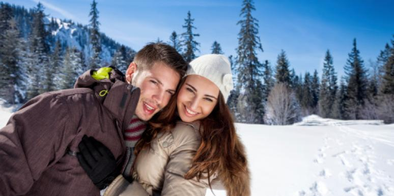 Couple at ski slopes