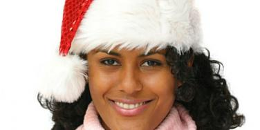 pink sweater santa hat