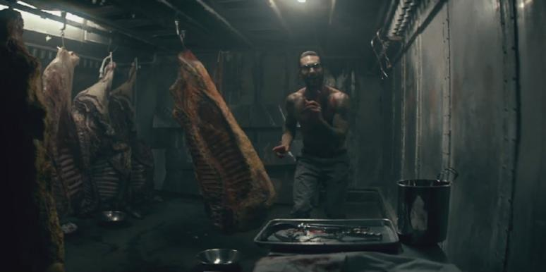 "Adam Levine with meat in the Maroon 5 ""Animals"" video"