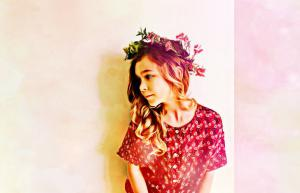 young girl with flower headband