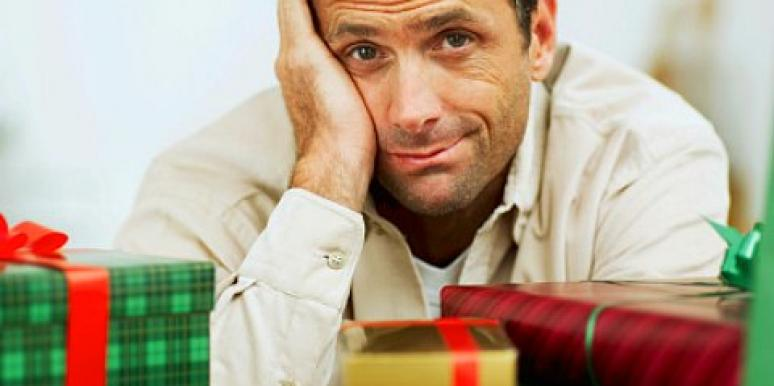 gay man with holiday gifts