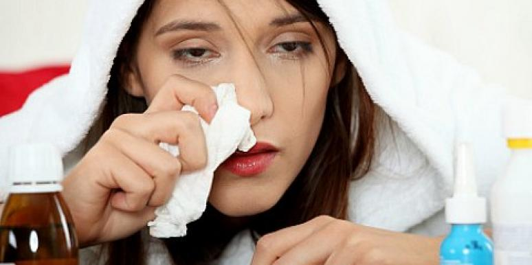 sick young woman tissue