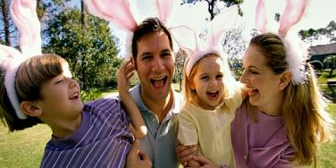 family with bunny ears.