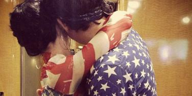 Katy Perry & John Mayer wearing matching American flag outfits