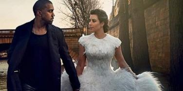 Kanye West and Kim Kardashian model wedding looks in 'Vogue' cover story