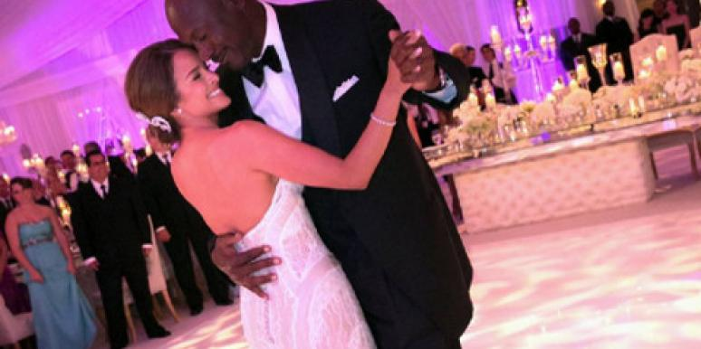 Michael Jordan & Yvette Prieto on their wedding day