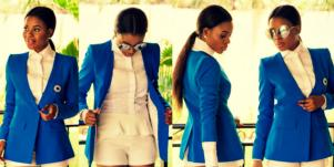 woman wearing a blue blazer