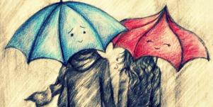 couple with umbrellas