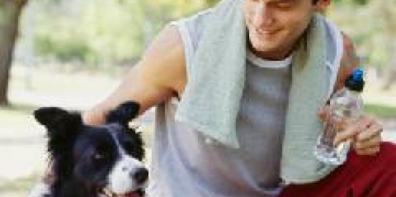 athletic man with dog